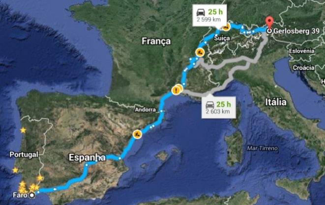 mapa viagem